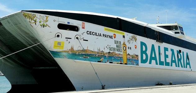 El ferry Cecilia Payne acercará el aceite de oliva a los viajeros de la ruta Denia-Ibiza-Palma