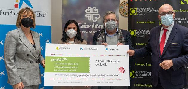 """Cooperativas Agro-alimentarias de Andalucía, Fundación """"la Caixa"""" y CaixaBank realizan una donación de alimentos a Cáritas Diocesana de Sevilla"""