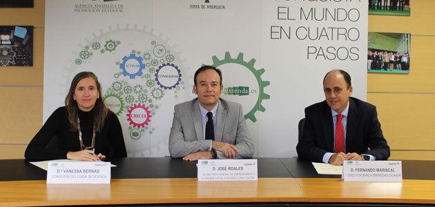 Extenda y Cajasur firman un acuerdo para facilitar servicios financieros a firmas andaluzas con proyectos internacionales