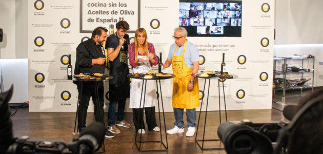 Los actores Nicolás Coronado, Raquel Meroño y Leo Harlem versionan recetas de toda la vida con los aceites de oliva como ingrediente estrella